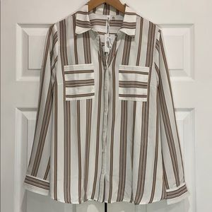 NWT NY COLLECTION Striped Button Down Top